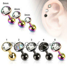 PVD Gold Anodized Crystal Cartilage Piercing Pendientes