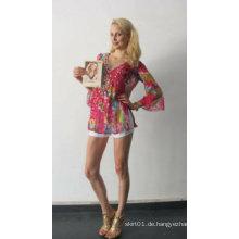2015 Neuer Entwurfs-langes Hülsen-Chiffon- Hemd Dame Bluse mit Vertikalen