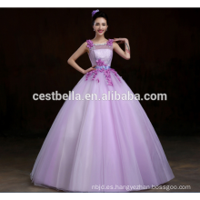 Princesa de moda princesa sin mangas Puffy Organza púrpura Quinceañera vestidos elegante señora