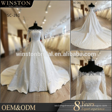 guangzhou china factory wholesales wedding dress Off Shoulder Bud silk satin wedding dress