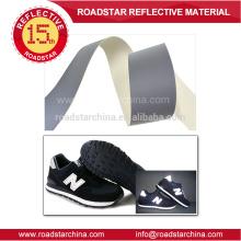 Couro de PVC refletivo prateado para sapatos