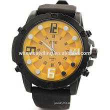 Reloj de goma delgado del deporte del dial grande de los hombres de 5 colores