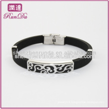 Hollow stainless steel silicon bracelet oem eco-friendly silicone power energy bracelet fashion silicone bracelet