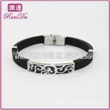 Oco em aço inoxidável pulseira de silicone oem eco-friendly silicone poder de energia pulseira pulseira de silicone de moda