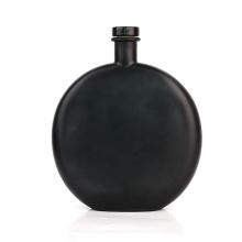 Custom unique 500ml flat round matte black glass bottles for liquor vodka whisky with stopper