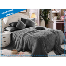 6 Piece Grey Faux Fur Blanket with Bedding Set
