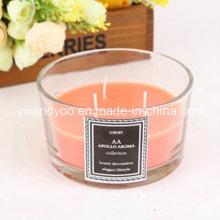 Vela decorativa del tarro de cristal cuadrado perfumado