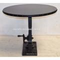 Industrial Crank Dining Table Round Metal Rivet Top