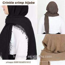 Высокое качество Оптовая продажа макси мусульманский шарф шаль пузырь хлопок рифленный хиджаб