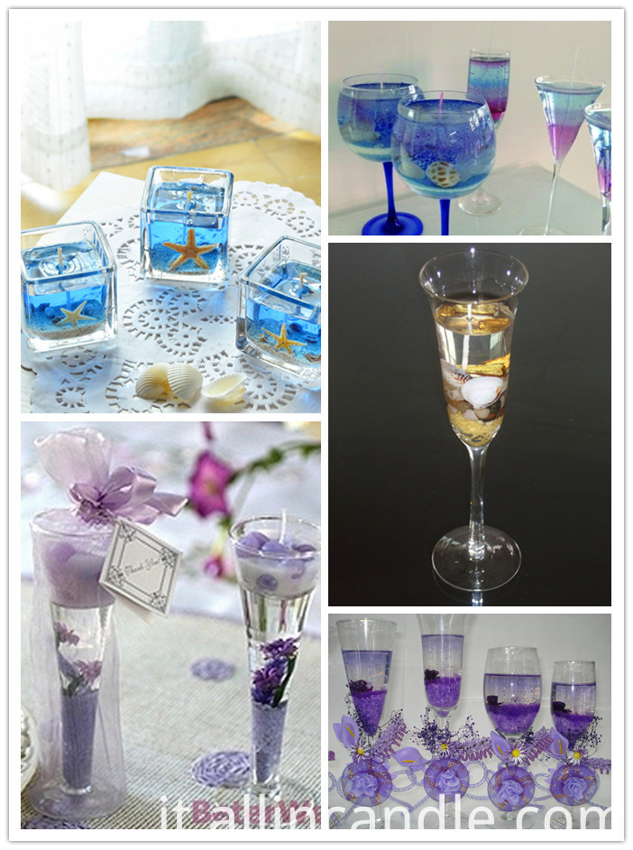 Scented Color ocean Jelly Candle glass Gel candle in cup
