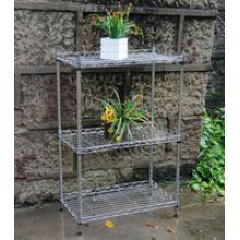 Metal ajustable 4 niveles de cromo estante de malla para el jardín