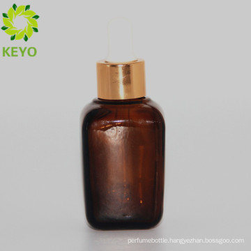 30ml empty cosmetic square amber essential oil glass dropper bottle