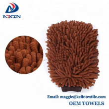 Scratch-Free Brown Noodles Premium Microfiber Car Wash Chenille Mitt Gloves