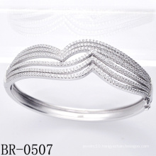 Micro Pave Setting 925 Sterling Silver Bangles (BR-0507)