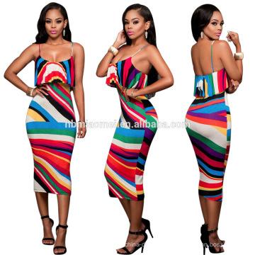 fabricants de vêtements robes imprimées personnalisées pour les femmes scoop dos bas gland ourlet sexy robes d'été