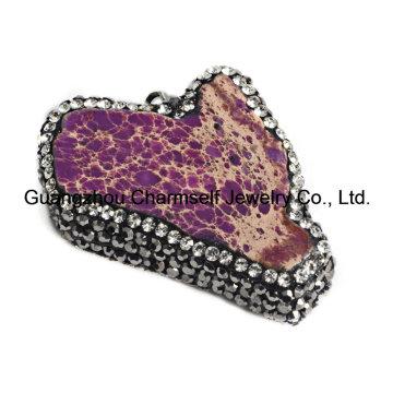 Pendientes de piedra preciosa preciosa de Jasper de la forma libre de la venta caliente con el Rhinestone de la pavimentación