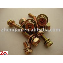 Hexagon head brass bolts with washers