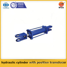 Quality assured piston type hydraulic cylinder with position transducer