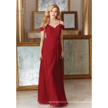 Red Chiffon Eine Linie Brautjungfernkleider Party Prom Abendkleid