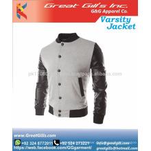 High Neck Slim Fit Cotton Varsity Jacken für Herren
