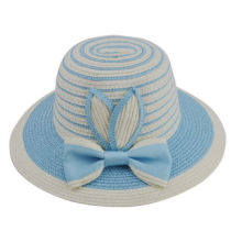 Customized Design Summer Kid's Paper Straw Hats with Bowknot Trimming