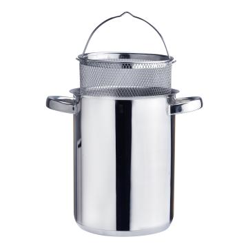Asparagus steamer pot with mesh basket glass lid