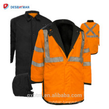 High Visibility Class 3 Waterproof Rain Jackets With Orange And Yellow Color,Reversible Mid-Length Hi Vis Safety Raincoat