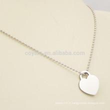 Logo personnalisé Collier de coeur en métal blanc Pendentif Chaîne de boule d'argent