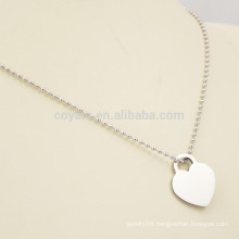 Custom Logo Blank Metal Heart Necklace Pendant Silver Ball Chain