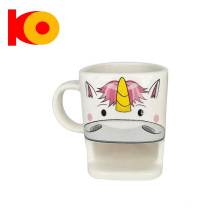 High quality Top Grade Unicorn Pattern Ceramic Biscuit Cup With Packing Box