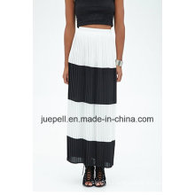 Fashion Pleated Striped Long Maxi Skirt with Invisible Seam Zipper