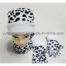 Promotion Lady Knitted Winter Warm Printed Polar Fleece Set