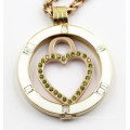 Simple 35mm Rd Stainless Steel Locket with Enamel Top & Clear Stones