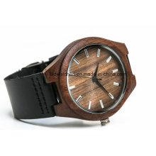 Пользовательские популярные кожа деревянные часы для мужчин женщин