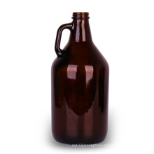 Empty 2L amber California wine beer growler carboy glass bottle with airtight screw lid