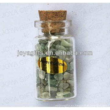 Colección de piedras preciosas verde Aventurine en botella