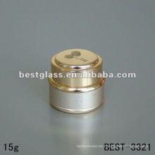 15g tarro de crema con el exterior de aluminio dorado y tapa de aluminio dorado