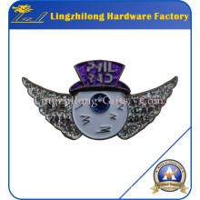 Insigne de paillettes d'argent de logo d'aile à vendre