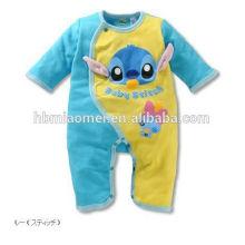 Custom made 100% algodão macio bebê macacão macacão unisex bebê bonito animal macacão atacado