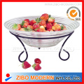 Glass Fruit Bowl Plate with Iron Stand