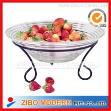 Glas Obst Schale Platte mit Eisen Stand