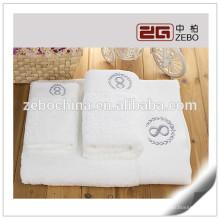 100% algodão tecida lisa com bordado branco Hotel toalha de banho