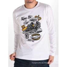 Algodón de moda de calidad superior al por mayor personalizado de manga larga camiseta de los hombres