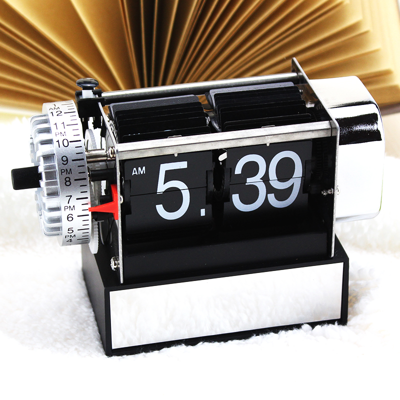 Small Black Alarm Flipping Clocks For Decor