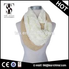 Jacquard acrílico y de poliéster tejido punto bufanda caliente con faux piel de moda para las mujeres