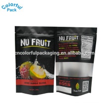 Matte black stand up pouch with zip lock and clear window for 100g dried fruit bags