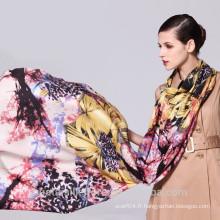Fashion floral print handmade 100% silencieux d'hiver en laine