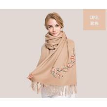 cachecol de lã de bordado quente e cor de camelo
