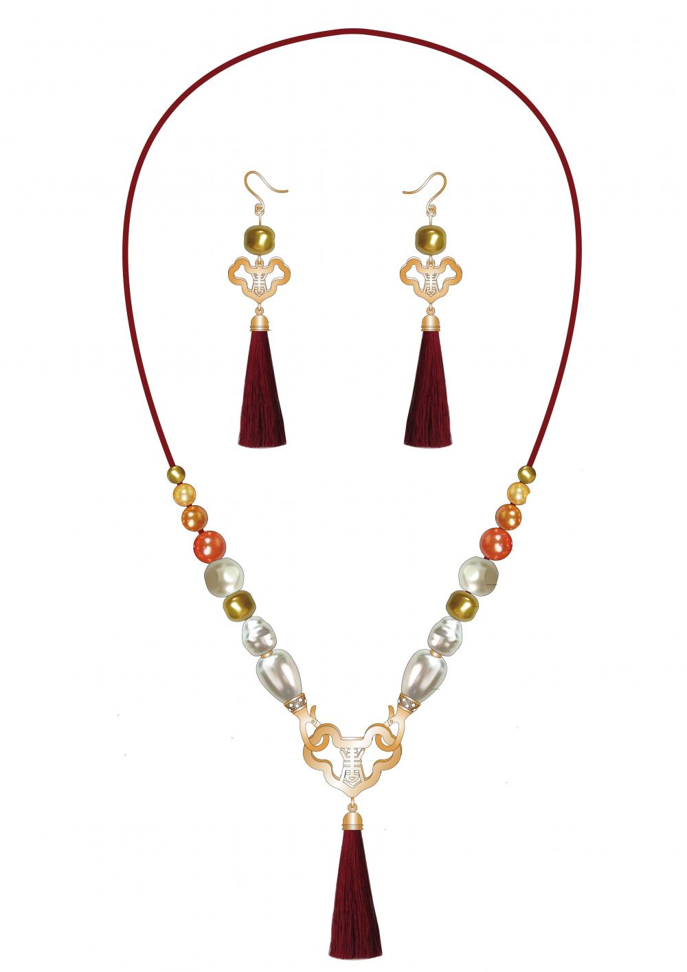 Baroque Pearl Jewelry Set With Tassel