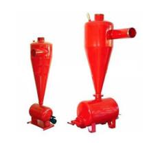 O hidrociclone separa a filtragem de areia com a descarga do tanque de sedimentação